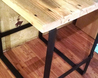 handcrafted wrought iron industrial style end table with recycled steel and reclaimed wood