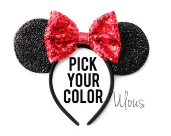 Red Minnie Mouse Ears, Sparkly Minnie Ears, Sparkly Minnie Ears, Minnie Mouse Ears, Minnie Mouse Party, Mickey Ears, Disney Ears, Disney