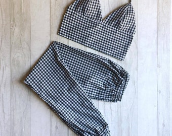 Handmade gingham trouser and bralet two piece / co ord. All colours available, made to order, uk sizes 4-18.