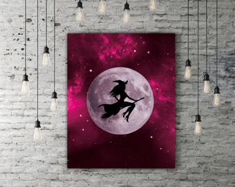 Witch Art, Purple Moon Print, Magical Printable Sky Art, Fantasy Decor, Night Sky Print, Witch Decor Moon Art Print Witch Print Witchy Decor