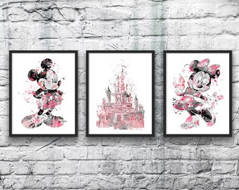 Mickey Mouse and Minnie Mouse Watercolor Set, Disney Art Print, Disney Castle, Movie Poster, Pink Gray, Nursery Art, Kids Room, Wall Art