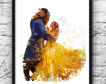 Beauty And The Beast Watercolor Print Belle Disney Art Movie Poster Nursery