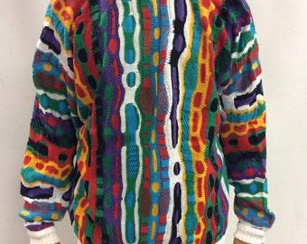 Vintage Coogi Knit Sweater Stripes Multicolor