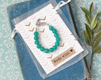 Baby Bracelet | Easter Beaded Bauble Bracelet | Emerald Green | Trendy Toddler Gift | Spring Outfit | Girls Birthday | Cake Smash Photo