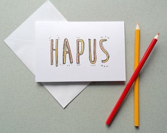 Hapus (Happy) Welsh Greetings Card. Typography Adult Colour In Card. DIY Personalised Colouring book card. Anniversary or Birthday card.