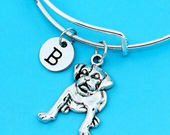 cute dog bangle bracelet, lovely dog bracelet, custom charm pendant, personalized bracelet, initial bangle, custom bangle, dog charm bangle
