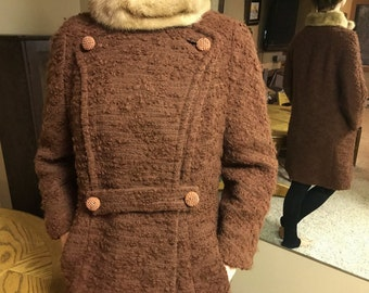Coat Vintage Boucle Wool With Fur Collar