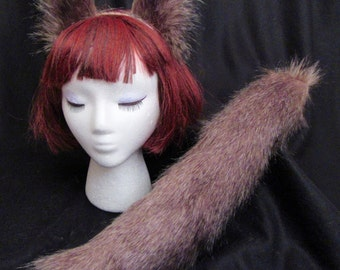 """DK. Brown Wolf Fox Ears & Tail/17"""" Set- Clip or Elastic- Great Dog, Cat, Wolf, Fox, Cosplay/Anime Costume-Soft Fashion Faux Fur"""