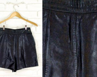 80s High Waist Leather Shorts Size Small S 2