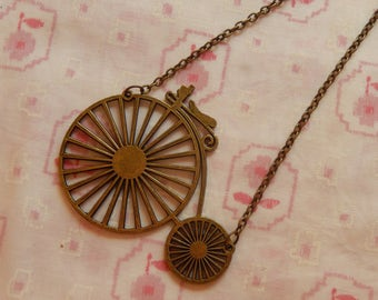 Huge Penny Farthing Bicycle Antique Brass Quirky Pendant Necklace