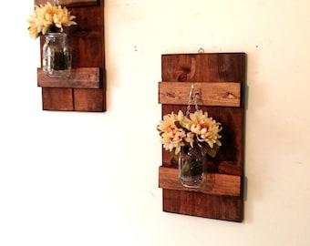 Hanging Mason Jar Wall Sconce Flower Vase Candle Sconce Wall Mounted Rustic Mason Jar