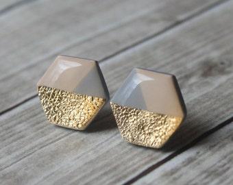 Beige Grey and Gold Hexagon Studs, Geometric Jewelry, Minimalist Statement Earring Studs, Hypoallergenic Titanium Earrings, Modern Jewelry