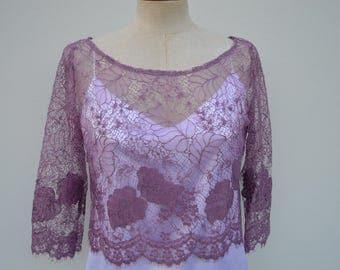 Clearance 30% Top lace, purple lace, purple blouse, crop top lace woman top