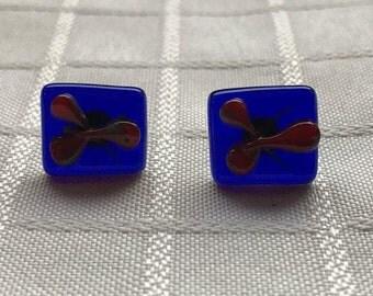 Blue Square Glass Post Earrings
