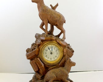 Antique Black Forest Hand Carved Wood Clock with Ibex Chamois Swiss Carving Edelweiss