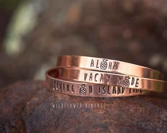 Pineapple Copper Cuff Bracelet | Aloha Vacay Mode Living on Island Time Vacation Jewelry Hawaii Handstamped Summer