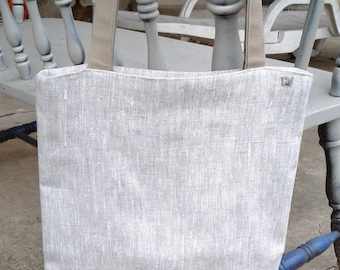 Linen Tote Bag, 13.5wx16tx2d,Linen/Cotton Tote, Natural Linen Tote, Linen Market Bag, Linen Shop Bag, Linen Beach Bag, Linen Office Tote Bg