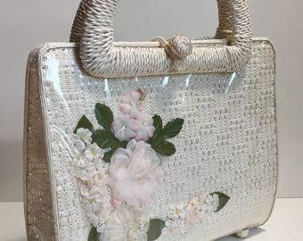 1960's White Wicker Handbag with Pressed Faux Flowers and Vinyl Overlay   Made in Japan