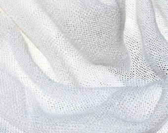 "60"" White Laundered 100% Tencel Mesh Boucle Acetate Sheer Light Weight Woven Fabric By the Yard"