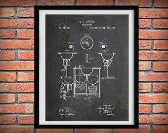 Patent 1885 Sink - Wash Bowl - Art Print - Bathroom Wall Art  - Poster Print - Wall Art - Toiletry Art - Lavatory Art - Wash Basin