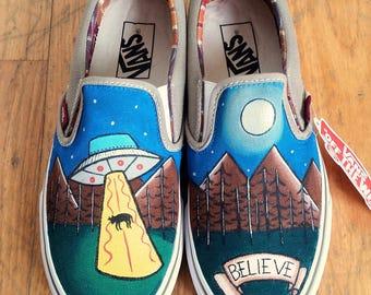 Handpainted Vans Slip on Believe in Ufo Aliens - X files