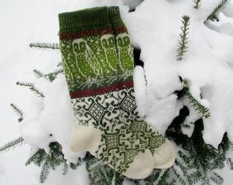 owl knit socks knitted socks Wool socks  long socks Norwegian socks. Christmas socks. gift to man. gift to a woman. men socks. women's socks