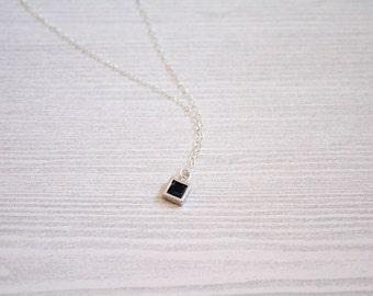 Sterling Silver Square Necklace, Marble Necklace, Geometric Necklace, Layering Necklace, Modern Necklace, Geometric jewelry, minimalist