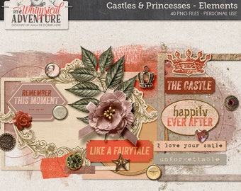Once Upon A Time, Happily Ever After, Instant Download, Digital Scrapbooking Embellishments, Princess Themed, Romantic Fairytale, Travel