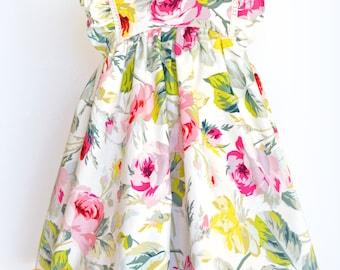 Baby Girl Dress, Vintage Inspired Dress, Toddler Girls Dress, Flutter Dress,  Floral