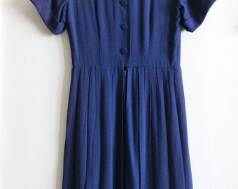 Vintage Blue Linen Pleated Dress with Buttons down the Back
