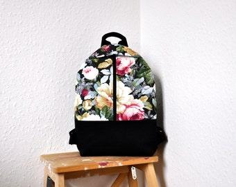 NEW, floral backpack, canvas backpack, backpack purse, cotton rucksack, hipster backpack, canvas bag, canvas rucksack, cotton backpack