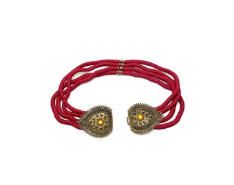 Vintage Red Elastic Belt with Ornate Silver Buckle