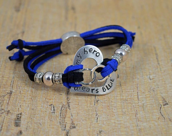 My Hero Wears Blue, Made and Ready to Ship, Adjustable Hand Stamped Washer Bracelet, Washer Bracelet, Blue Live Matter, Police Lives Matter