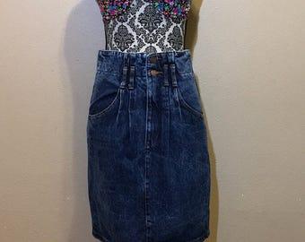 80s Demin Skirt   High Waist Jean Skirt   Vintage Denim Skirt