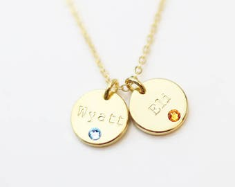 Mother's Birthstone disc necklace // Gift for mom // Crystal Birthstone necklaces // Mom Birthday Gift/  Valentine's day gift for her