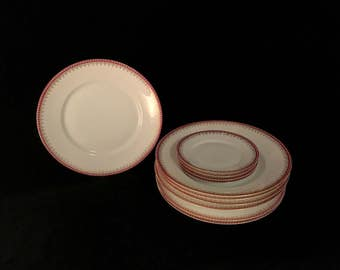 Vintage Antique Rosenthal Dinnerware Set Lot of 11 Pieces Burgundy White & Gold Dinner Plates, Bowls and Dishes Classic Traditional Pattern