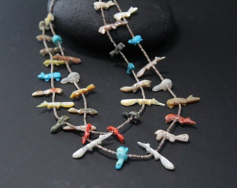 Sterling Silver Old Pawn Zuni Fetish Necklace with 37 Carved Animals