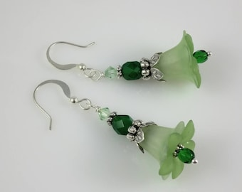Silver and Green Lucite Flower Swarovski Crystal and Czech Glass Beaded Earrings