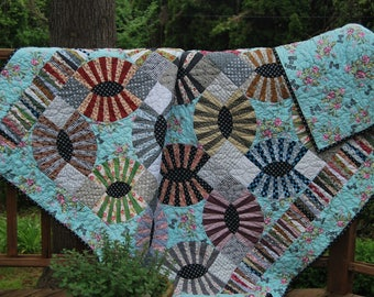 Gypsy Kisses Quilt, Cotton throw, French Country, Twin comforter