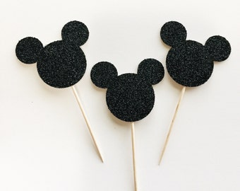 Mickey Mouse Glitter Cupcake Toppers - Disney - Birthday - Party - Dessert Table - Donut Toppers - Decoration - Decor