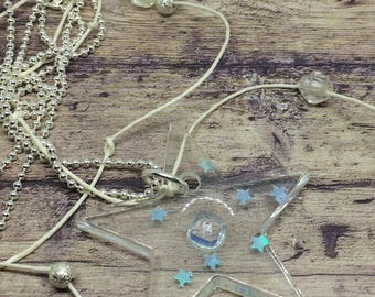 Blue star resin necklace