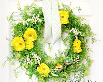 Romantic Greenery Wreath | Front Door Wreath | Spring Wreath | Summer Wreath | Bird Wreath | Yellow Wreath | Housewarming Gift
