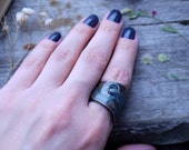 """Ring blue patina copper wire,boho style, vintage, chasing """"Night of heavenly haze""""  art. 4098"""