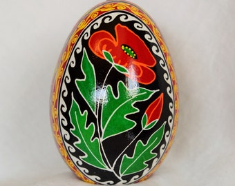Ukrainian Easter Egg Pysanky Pisanki. Red Poppy against black,red,yellow,orange,green.Goose egg.Easter Egg Ornament.Made in Michigan USA