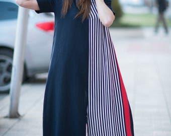 Maxi Cotton Jumpsuit for Women, Plus Size Jumpsuit for Women, Union Suit for Women, Short Sleeves Jumpsuit, Plus Size Clothing, Loose Dress