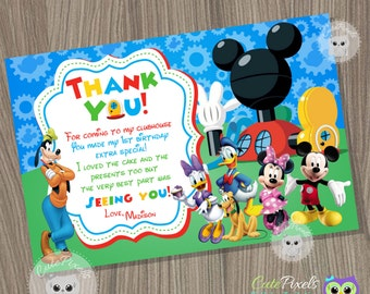 Mickey Mouse Clubhouse Thank You Card, Mickey Mouse Birthday, Mickey Mouse Clubhouse Party, Mickey Mouse Card, Clubhouse thank you card
