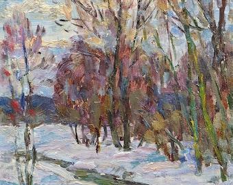 VINTAGE ORIGINAL OIL Painting by M.Borymchuk 1970s, Woodland scenery, Spring Forest Landscape, Riverscape Impressionist Soviet Ukrainian art
