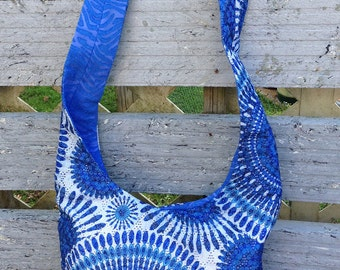 CROSS BODY in  BLUE Lace overlay Hobo bag