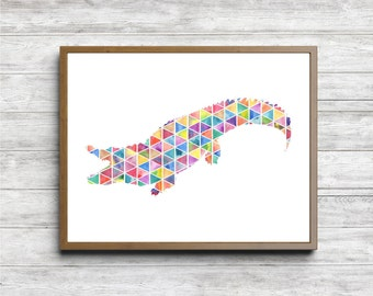 Geometric Crocodile Nursery / Kids Room Wall Art - Watercolor Crocodile Poster - Wild Animal Silhouette - Printable Animal Art