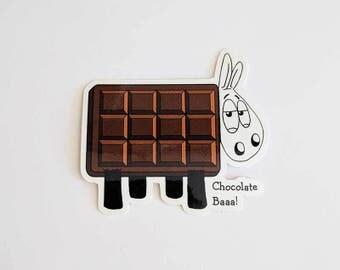 Cute stickers, Chocolate Baaa!, Laptop stickers, ipad sticker, Sheep stickers, Journal stickers, cute stickers, sheep gifts, chocoholic